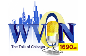 wvon in blue in shape of city landscape and 0 is yellow like a sun
