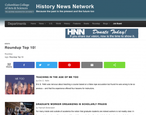 home page of the History News Network